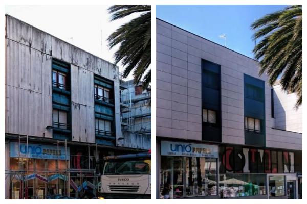Antes y después de uno de los proyectos de fachadas ventiladas de sistema masa
