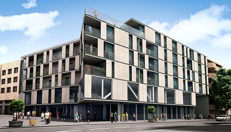edificio con revestimiento de fachadas de gran formato
