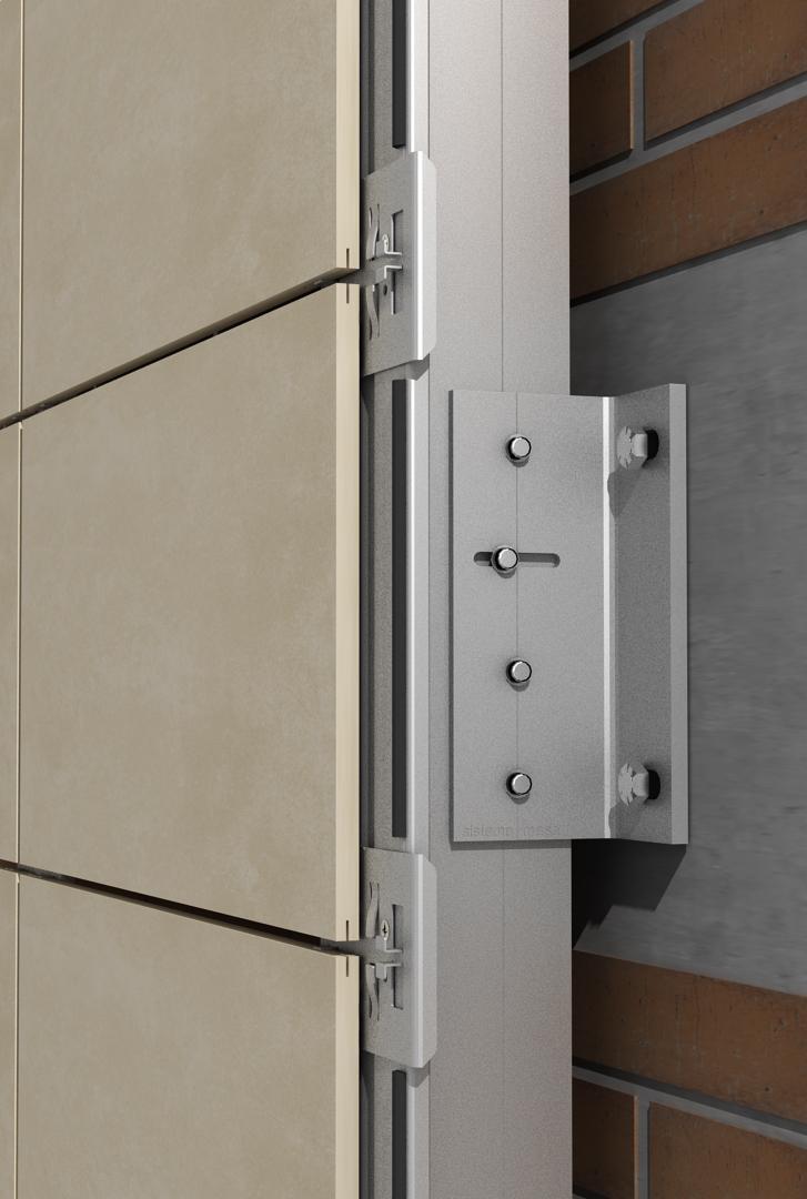 Solución para fachadas ventiladas Sistema Masa PF-ALT/SO EMPOTRADO