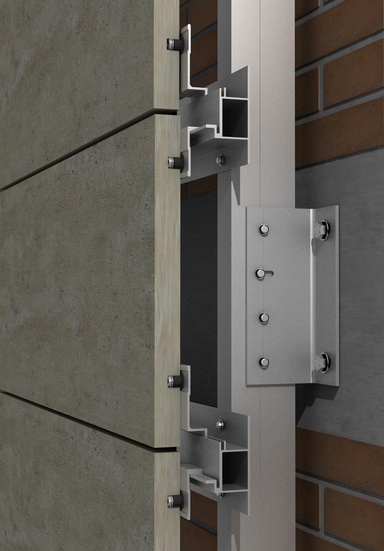 Solución para fachadas ventiladas Sistema Masa PF-ALU/HTR EMPOTRADO