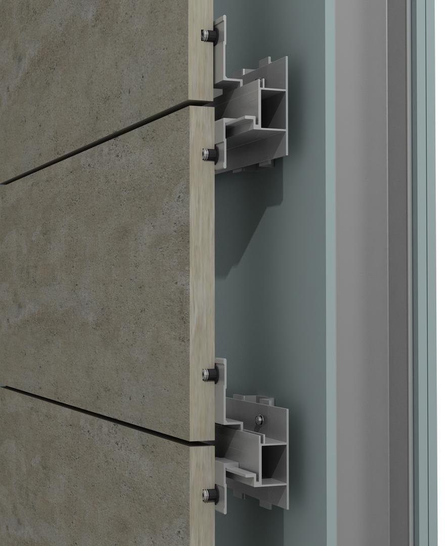 Solución para fachadas ventiladas Sistema Masa PF-ALU/HTR CANAL