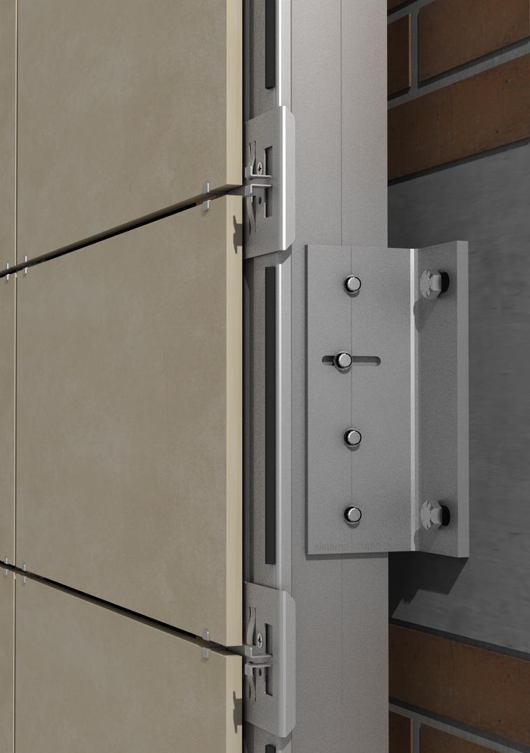 Solución para fachadas ventiladas Sistema Masa PF-AL-T.SV-EMPOTRADO