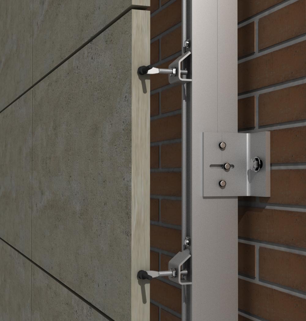 Solución para fachadas ventiladas Sistema Masa PF-ALU/CLA ARTICULADO