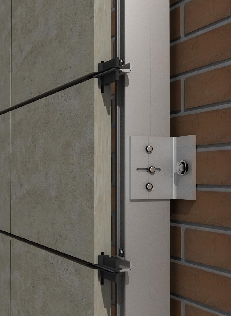 Solución para fachadas ventiladas Sistema Masa PF-ALU/PL ARTICULADO