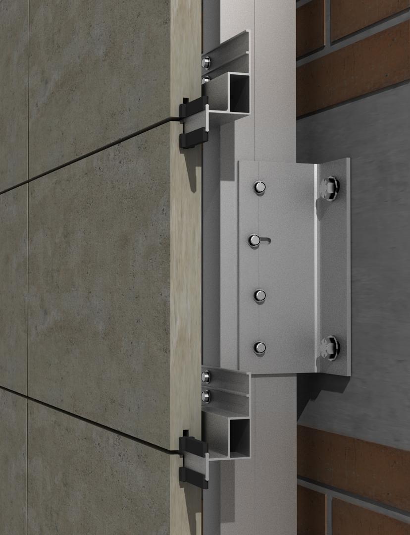 Solución para fachadas ventiladas Sistema Masa PF-ALU/HPL EMPOTRADO
