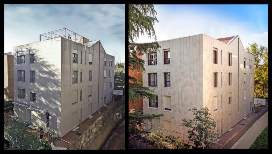 Rehabilitación fachada ventilada Salses · Sistema Masa