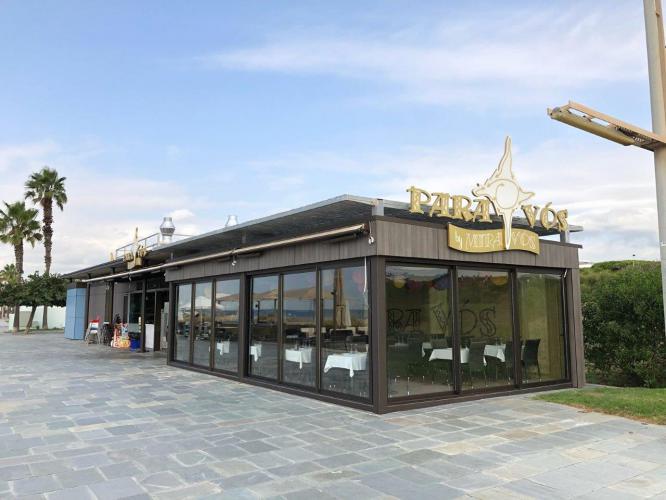 Revestimiento de fachada en el restaurante Para Vos de Sistema Masa